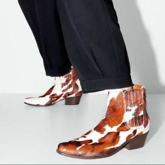 Zara Leather Heeled Cowboy Boots Animal